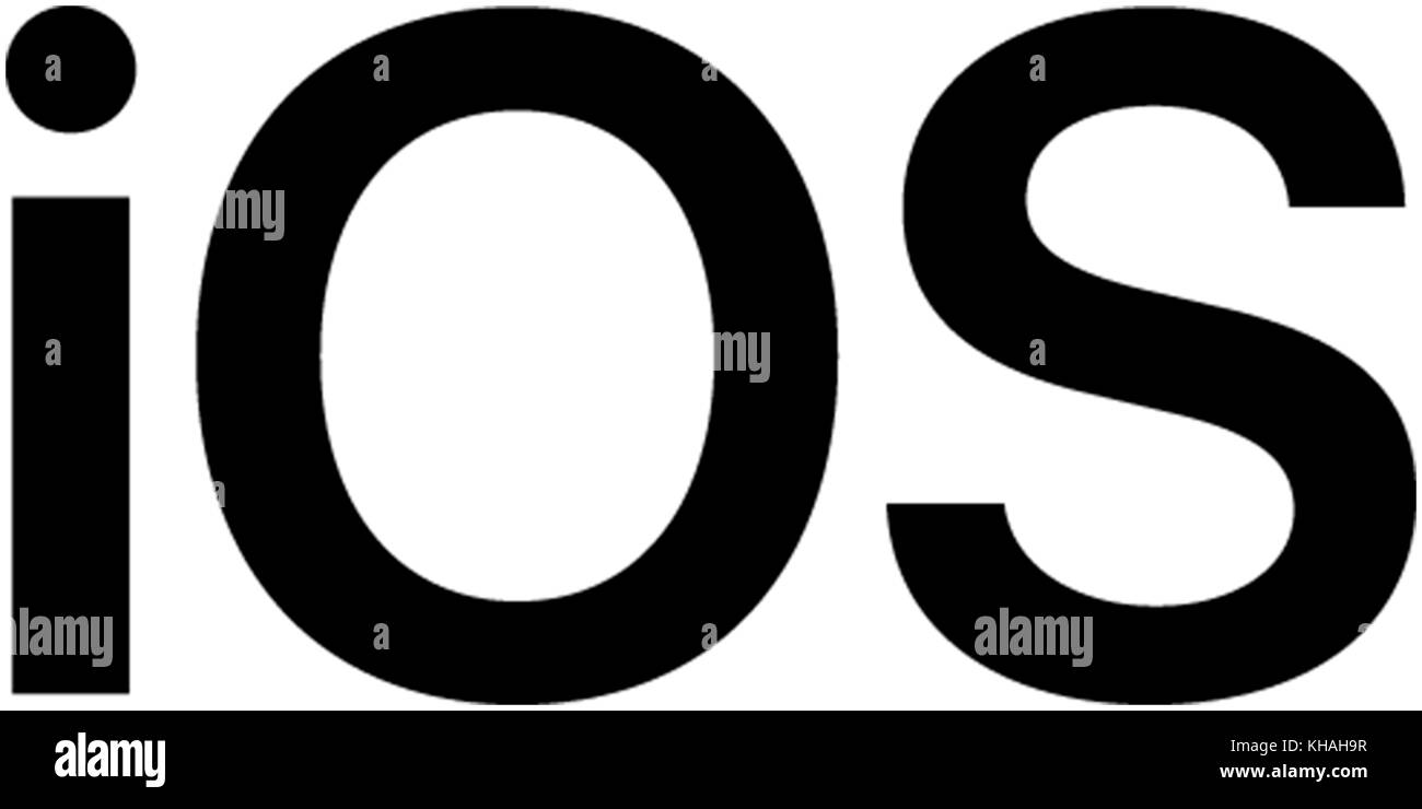 IOS lettering, operating system for Apple smartphones - Stock Image