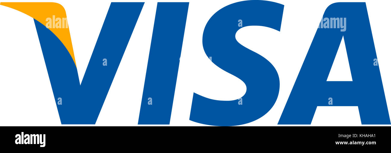 Visa logo, American financial services, worldwide payment method - Stock Image