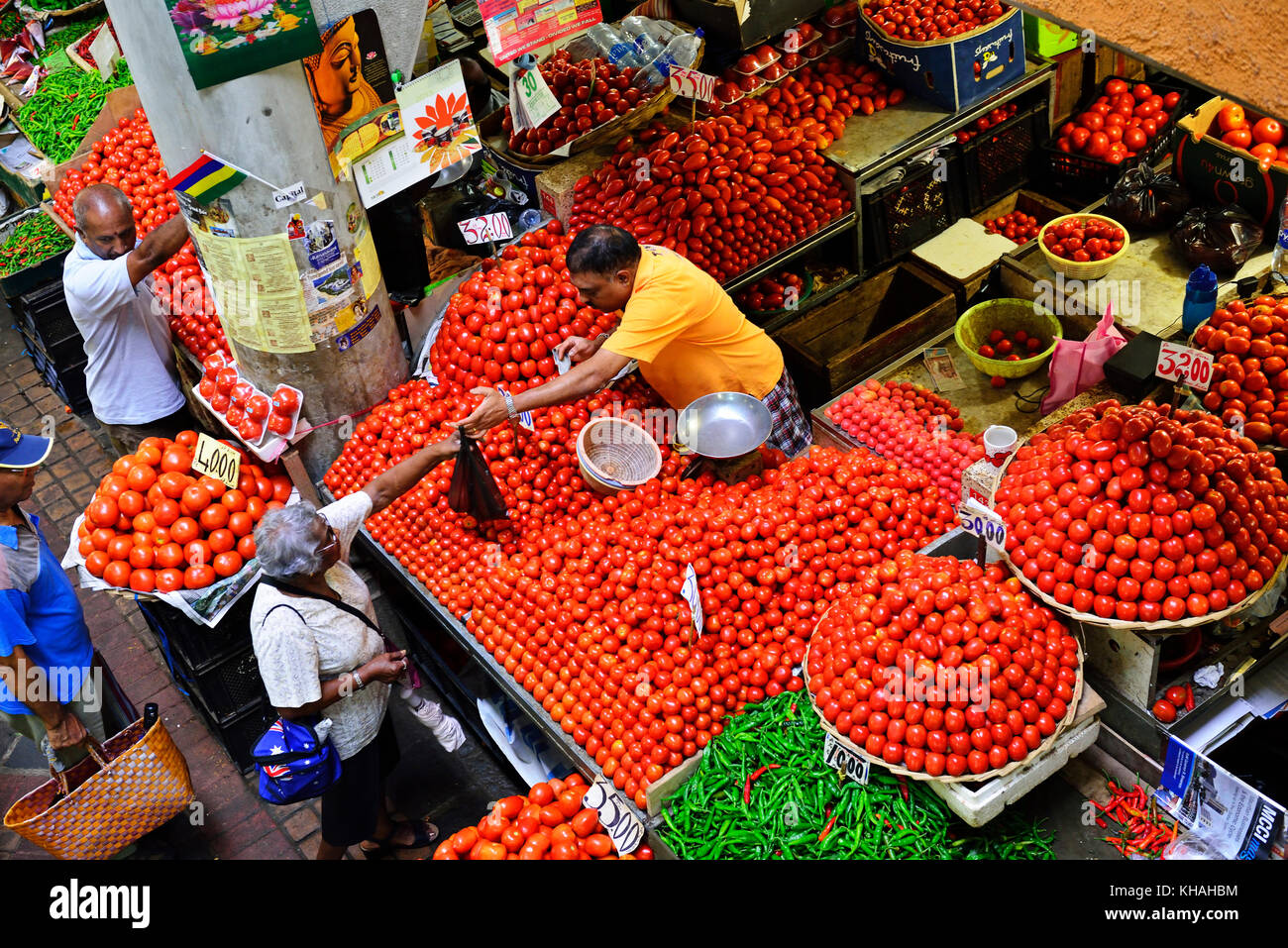 Large vegetable market, Port Louis, Mauritius Stock Photo