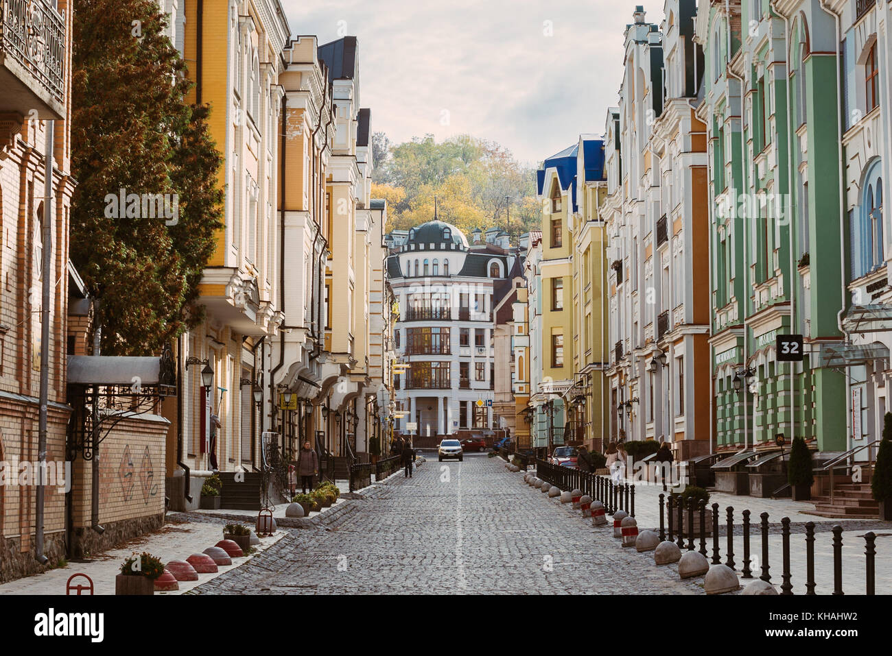Vozdvyzhenka, a bright and colourful ghost town suburb of Kiev, full of modern buildings paying tribute to a 19th - Stock Image