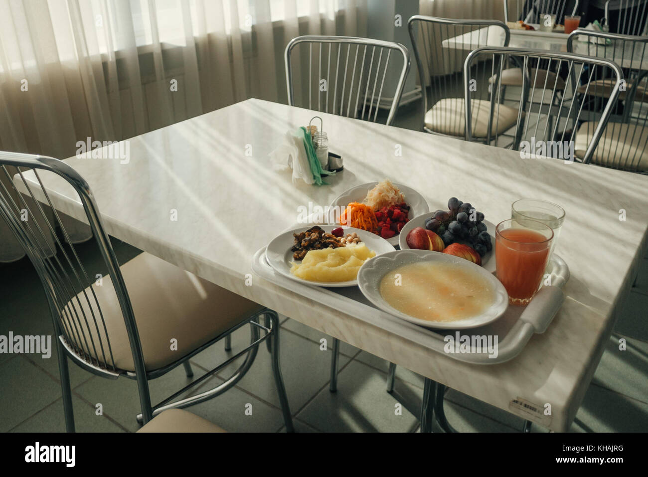A tray of vegetarian food in the staff canteen at Chernobyl power plant, Ukraine - Stock Image