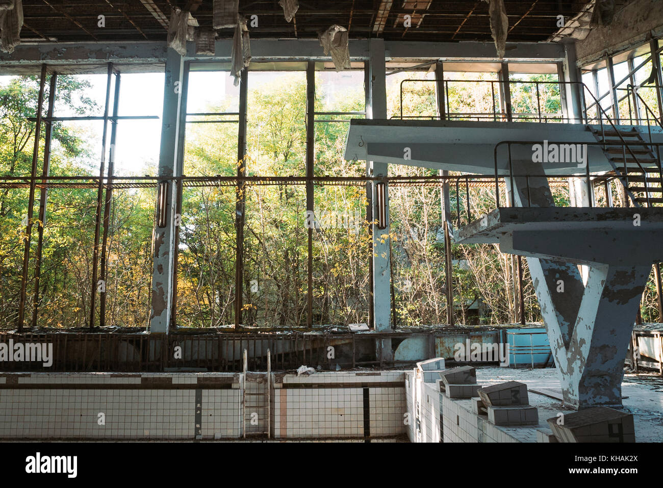 The old swimming pool hall in Pripyat, Ukraine, close to the location of the Chernobyl disaster - Stock Image