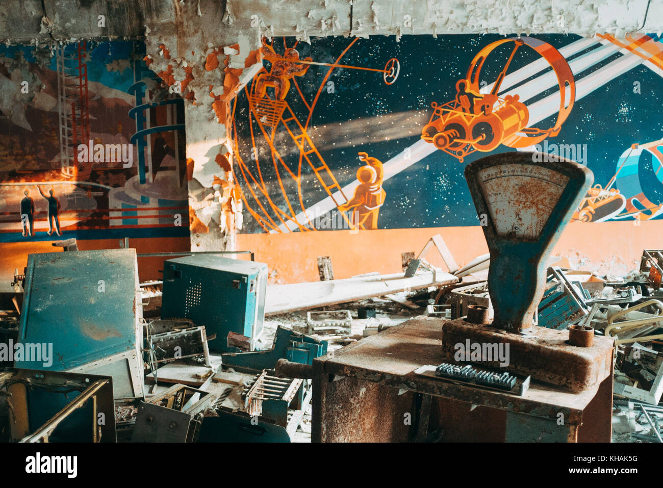 Wall art found inside the secret radar station at Chernobyl, Ukraine - Stock Image
