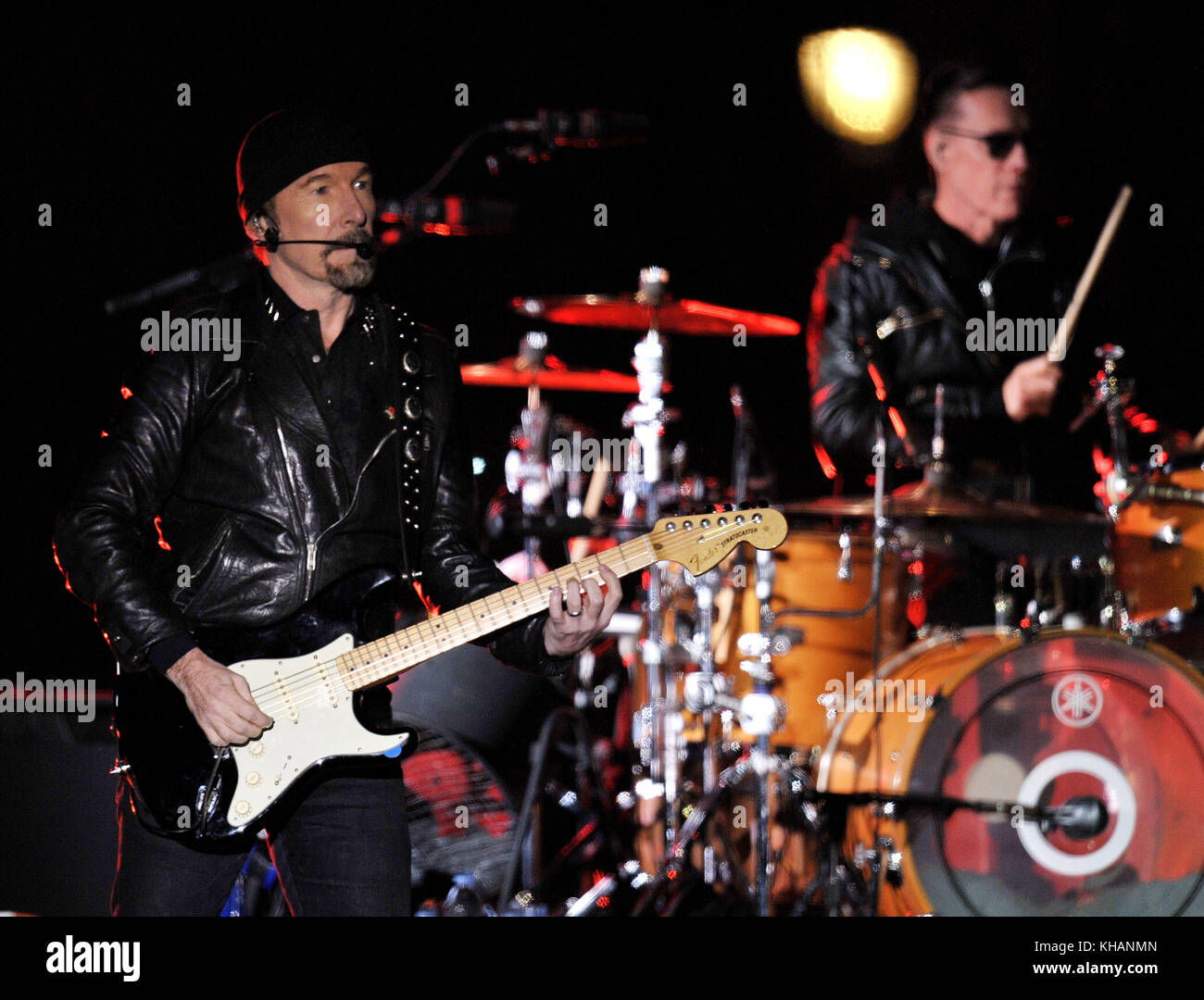 The Edge (left) and Larry Mullen Jr, of U2 perform in