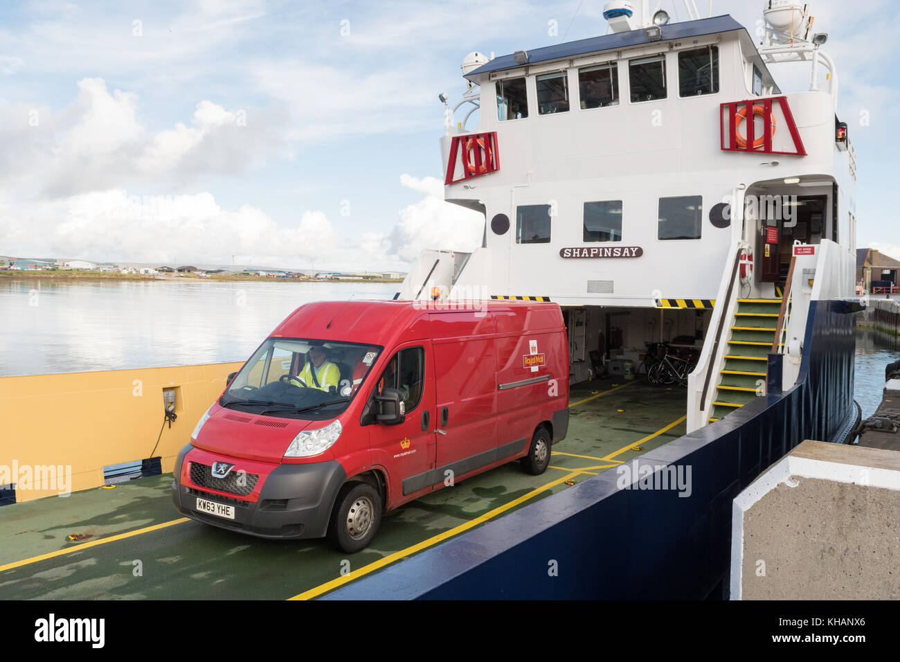 Royal Mail van leaving Shapinsay ferry, operated by Orkney Ferries at Kirkwall Harbour, Kirkwall, Orkney, Scotland, - Stock Image