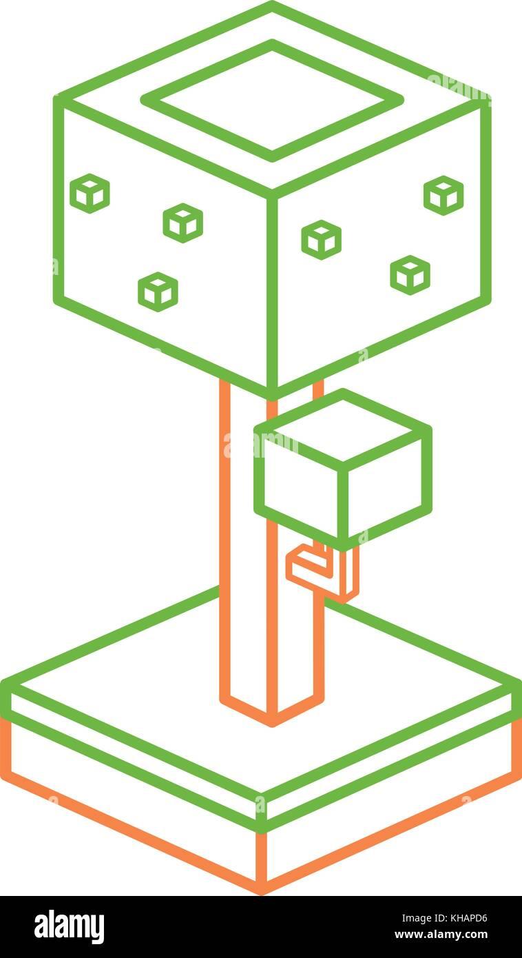 Isometric tree design - Stock Image