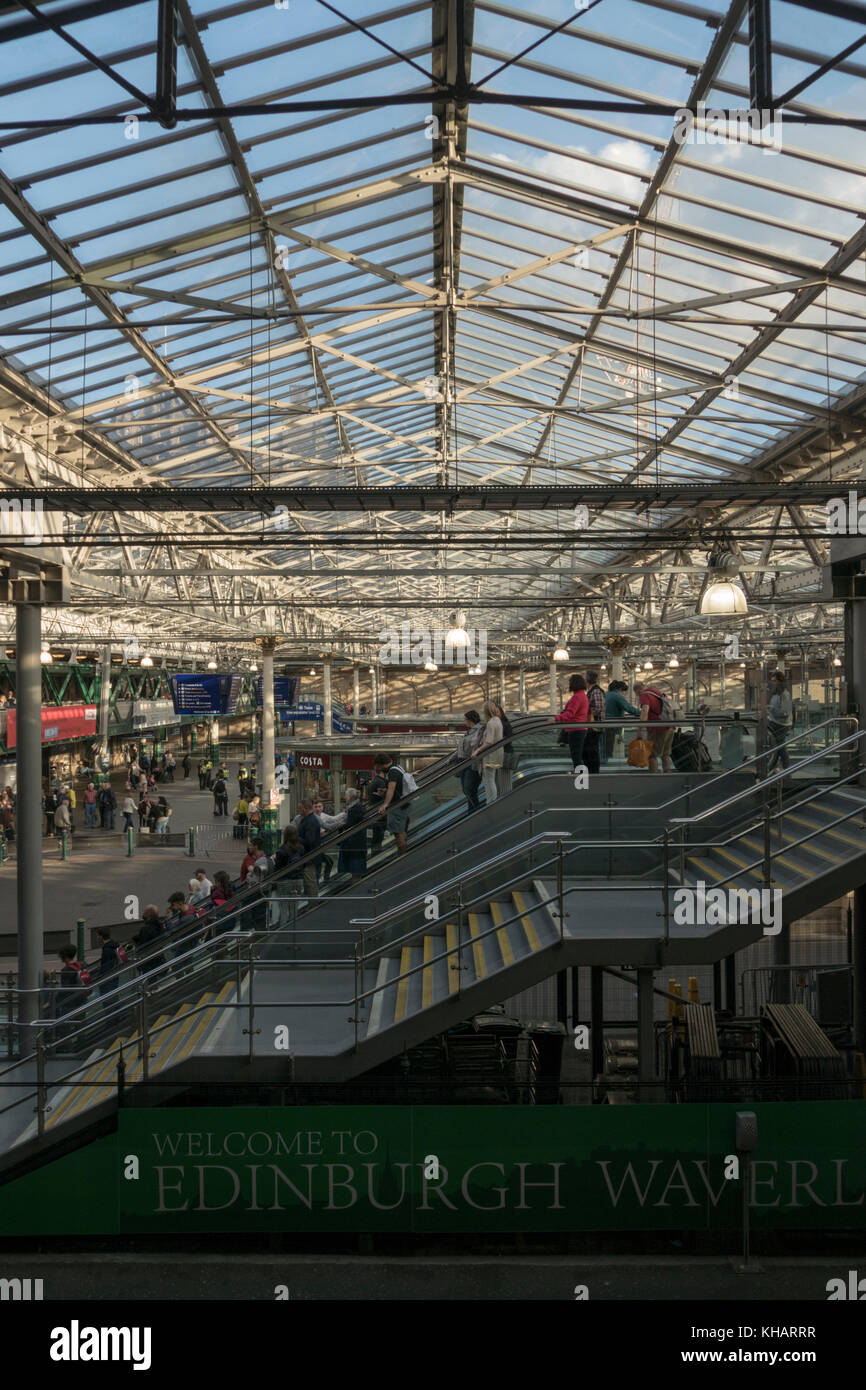 The general concourse at Waverley Station in summer evening light, Edinburgh,Scotland,UK Stock Photo