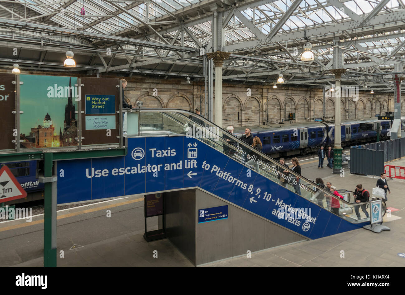 The new escalator access to Waverley Station, Edinburgh,Scotland,UK Stock Photo