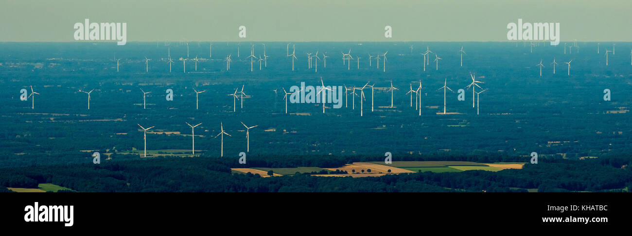 giant wind farm near Lotte Osnabrück, alternative energy, renewable energy, wind power plant, landscape destruction, - Stock Image