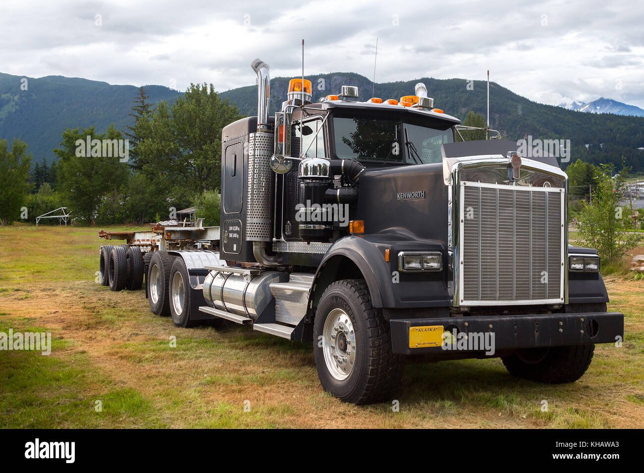 Haines, Alaska, USA - July 29th, 2017: A Kenworth truck parked on the field of Fort Sewart in Haines. - Stock Image