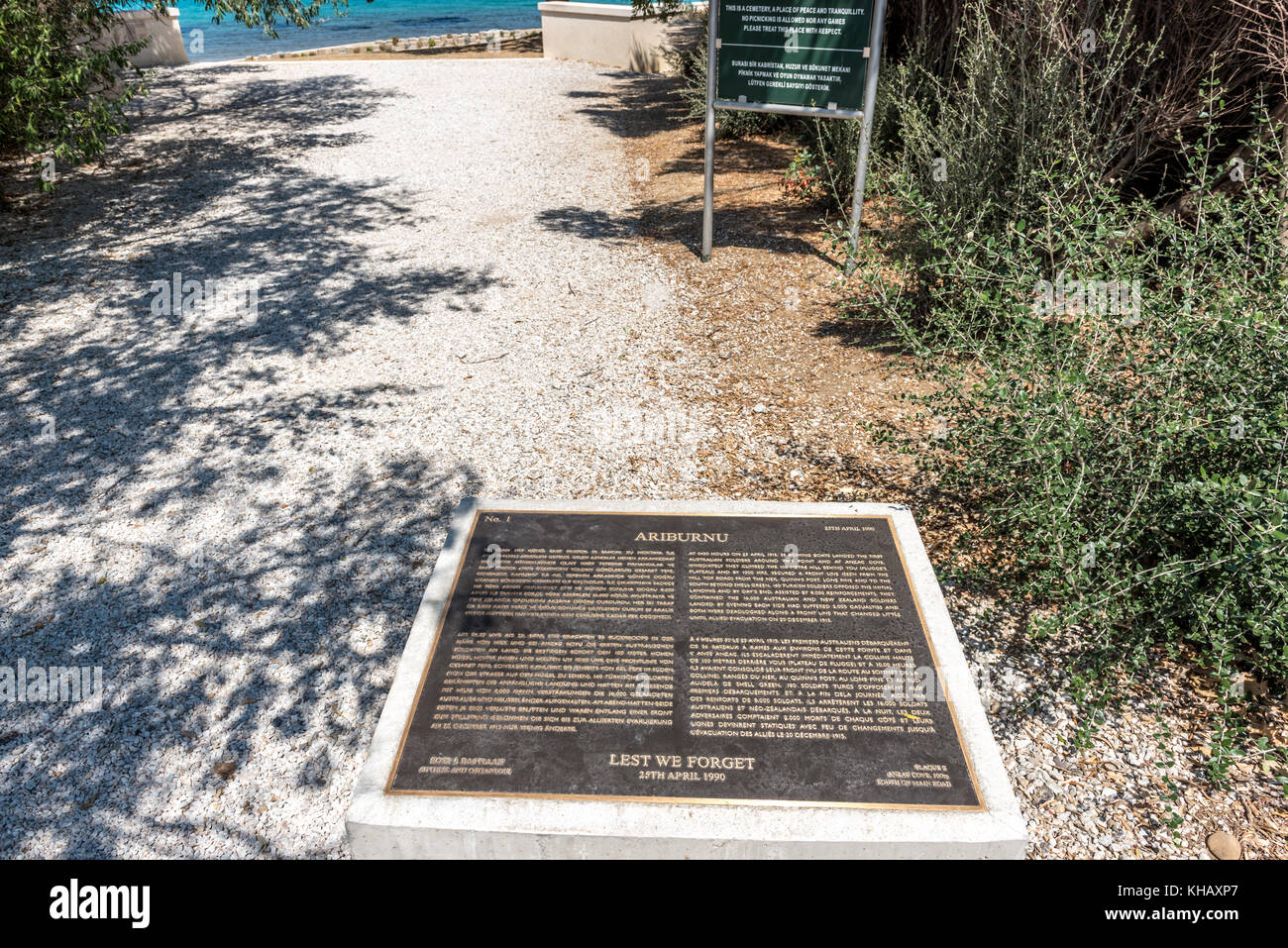 An information plate at ANZAC cove, site of World War I landing of the ANZACs on the Gallipoli peninsula in Canakkale Stock Photo