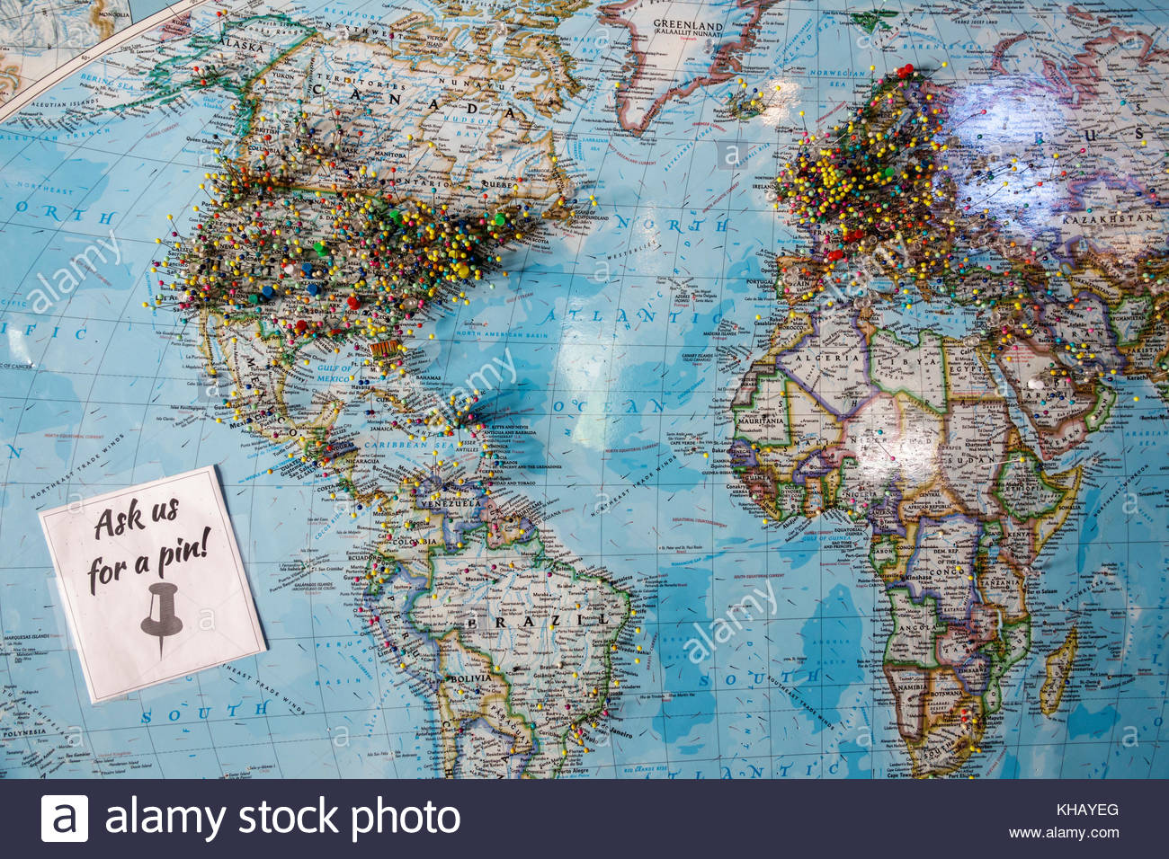 world maps with pins