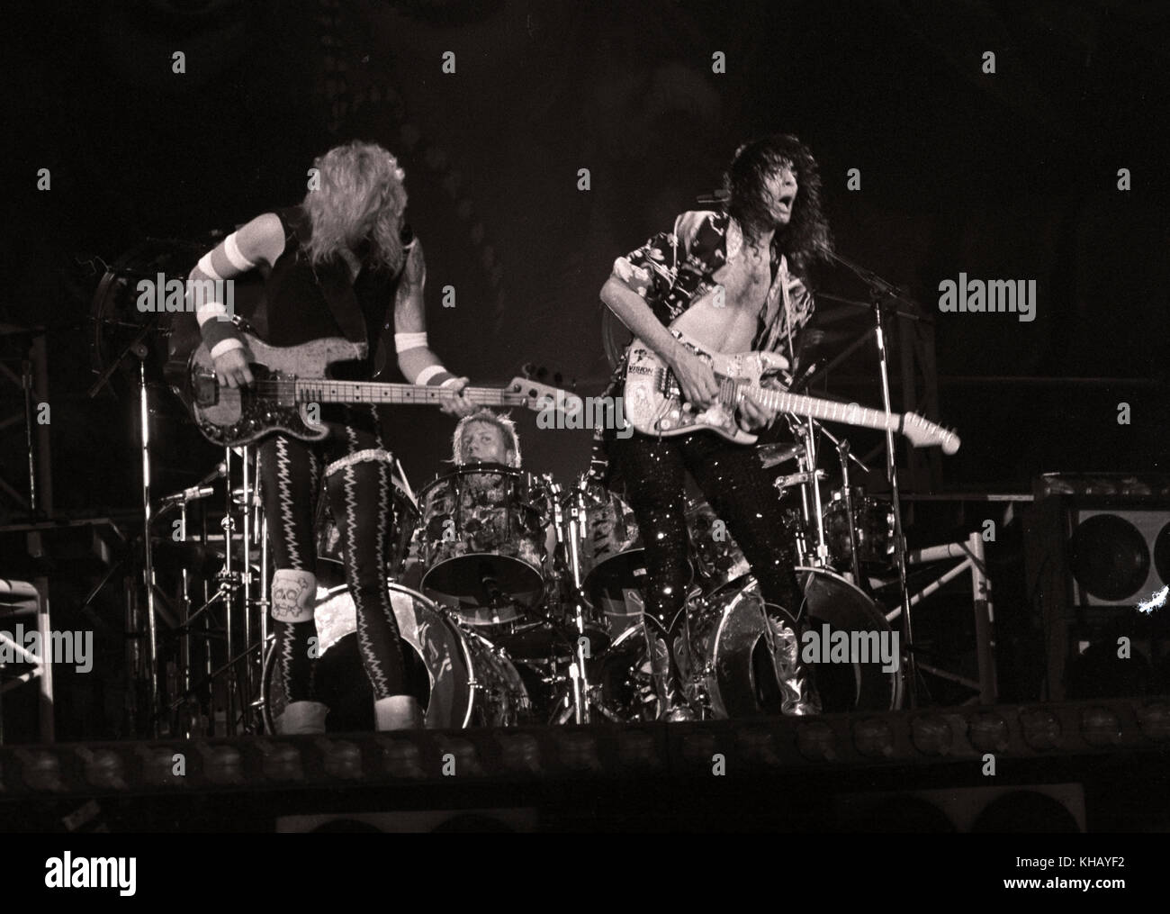 David Lee Roth Band Featuring Steve Vai And Billy Sheehan Performing Stock Photo Alamy
