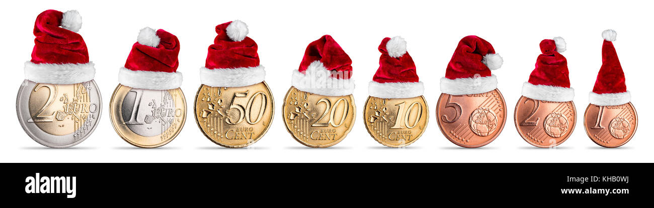 1657fcb8ea47b christmas bonus euro and cent coin concept set collection with santa claus hat  isolated on white background european union