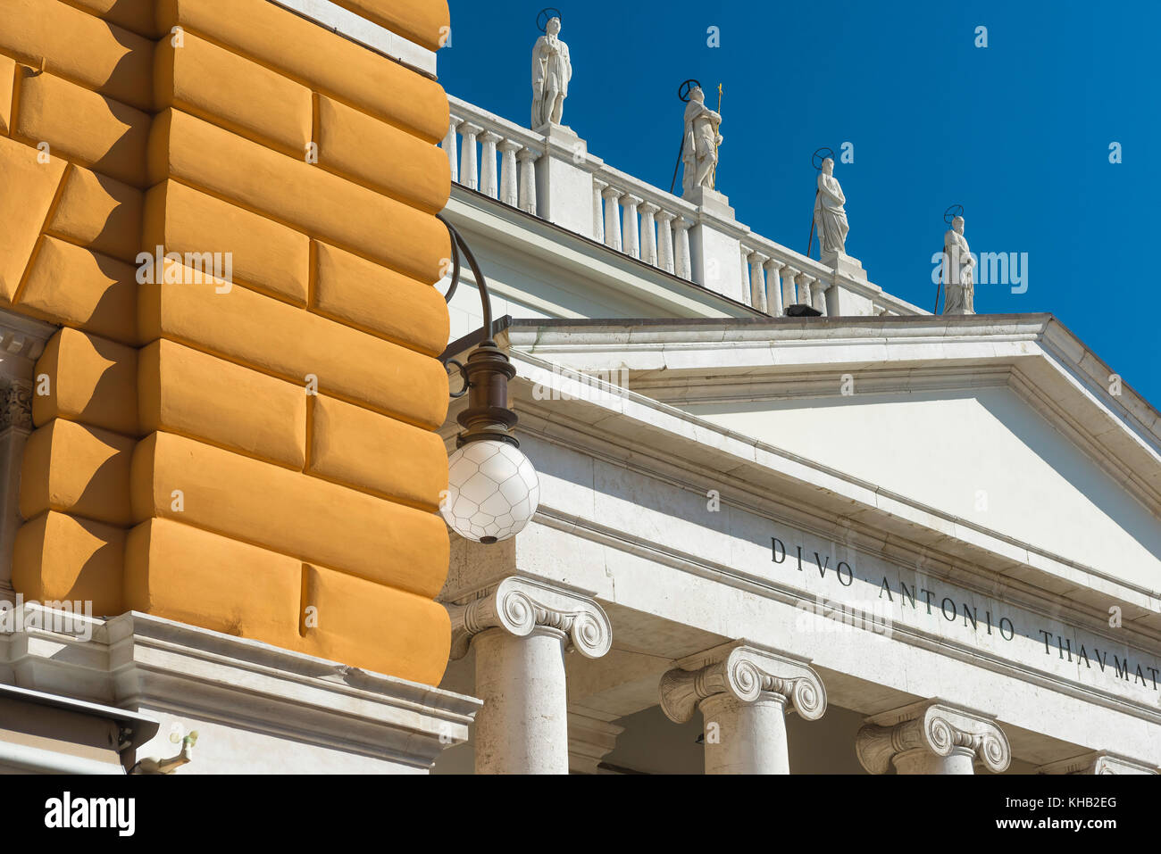 Trieste architecture, detail of the pediment and roofline of the Chiesa di Sant'Antonio Thaumaturgo in the canal - Stock Image