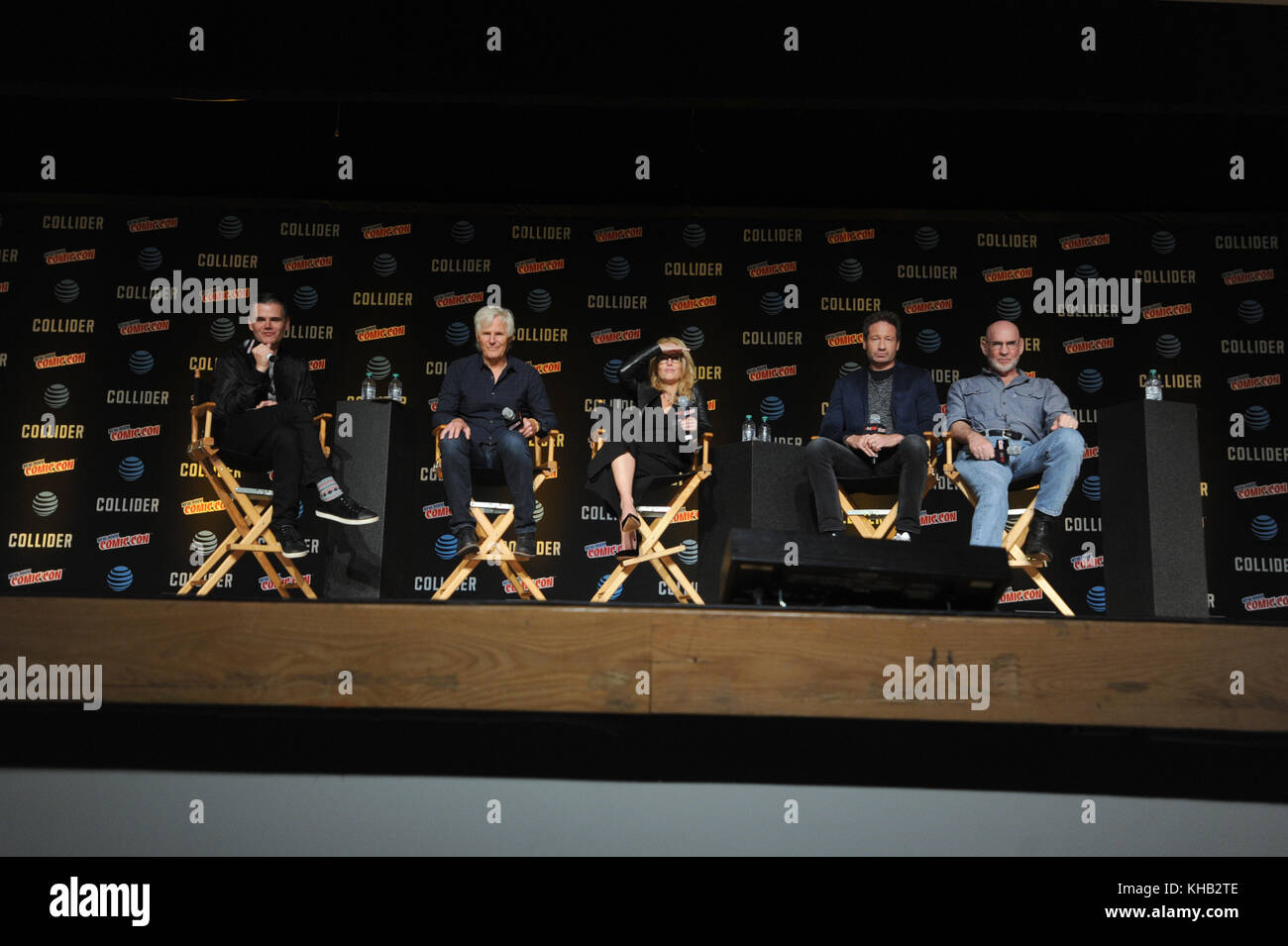 NEW YORK, NY - OCTOBER 08: Chris Carter, Gillian Anderson, David Duchovny, and Mitch Pileggi  speaks onstage at - Stock Image