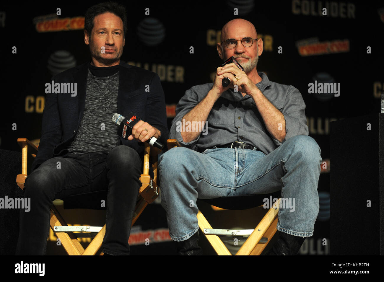 NEW YORK, NY - OCTOBER 08: David Duchovny, Mitch Pileggi  speaks onstage at The X-Files panel during 2017 New York - Stock Image