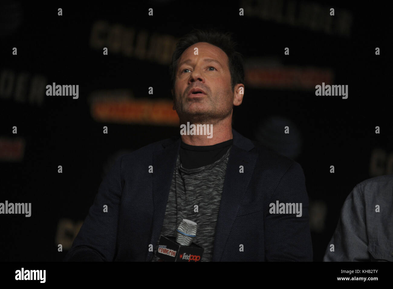 NEW YORK, NY - OCTOBER 08: David Duchovny  speaks onstage at The X-Files panel during 2017 New York Comic Con -Day - Stock Image