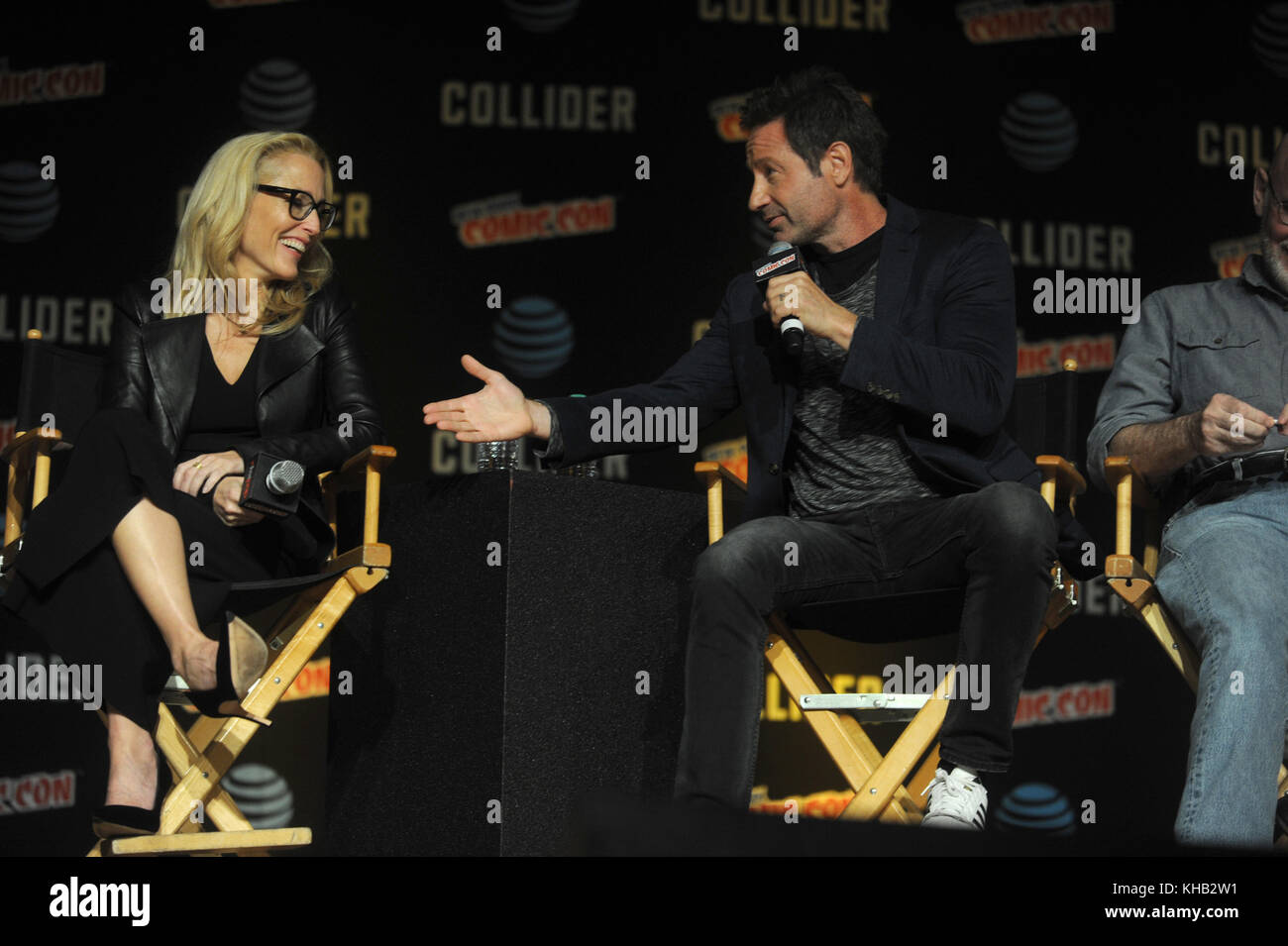 NEW YORK, NY - OCTOBER 08: Gillian Anderson, David Duchovny  speaks onstage at The X-Files panel during 2017 New - Stock Image