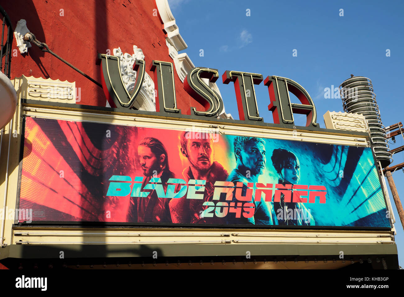 Blade Runner 2049 movie sign outside the historic Vista Theatre Cinema building on Hollywood and Sunset Boulevard, - Stock Image