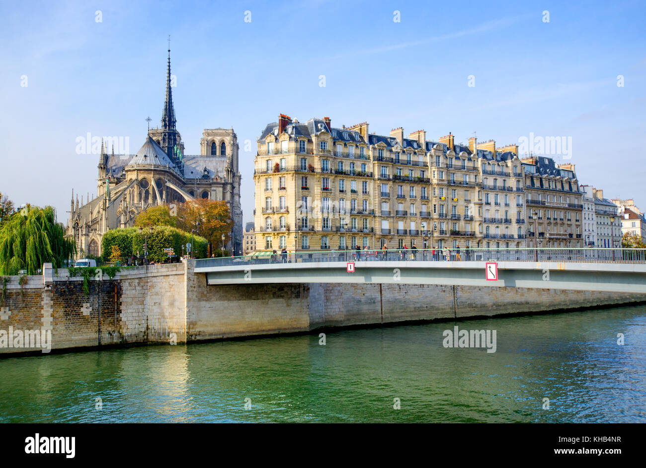 Paris, France. Notre Dame, Pont Saint-Louis, houses on the Quai aux Fleurs and the Isle de la Cite seen from Isle - Stock Image