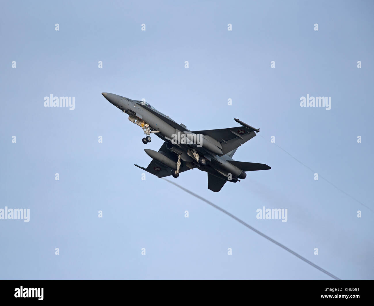 Swiss Air Force McDonnel Douglas F18C/A Hornet Fast Twin Engined Jet Fighter Aircraft.on 4 week pilot training exercise. - Stock Image