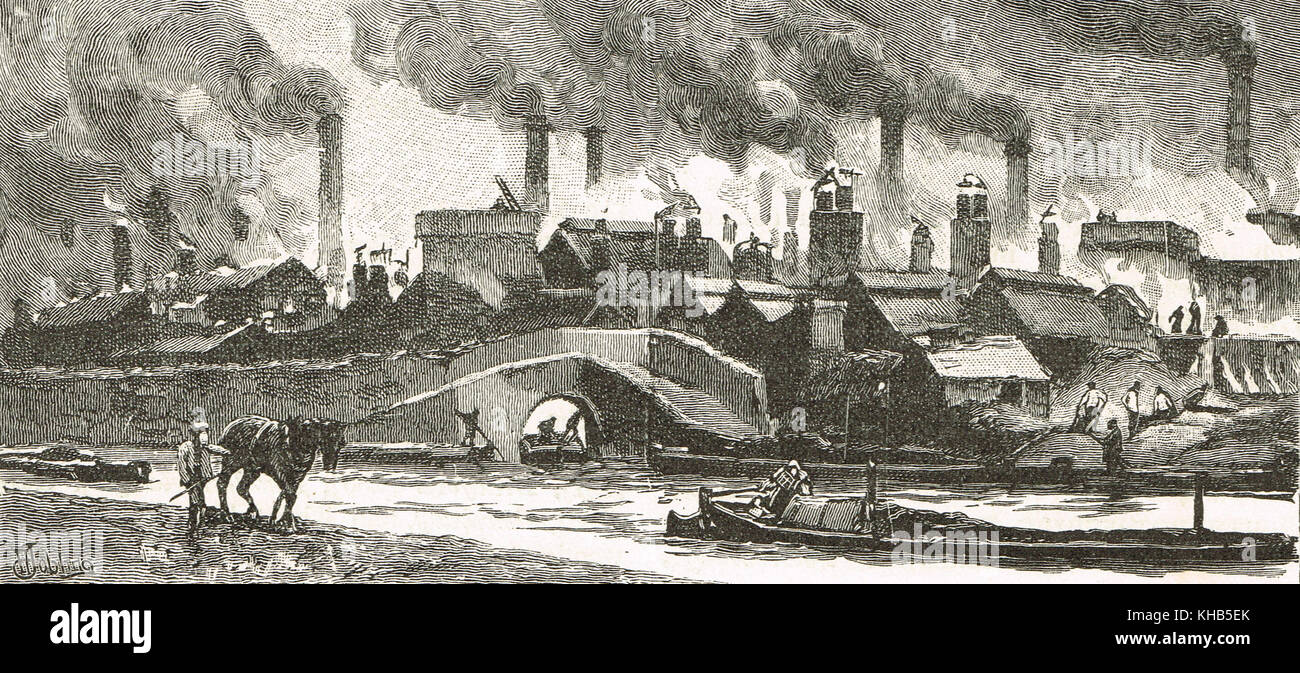 The Black Country, 19th century view of Oldbury, West Midlands, industrial revolution - Stock Image