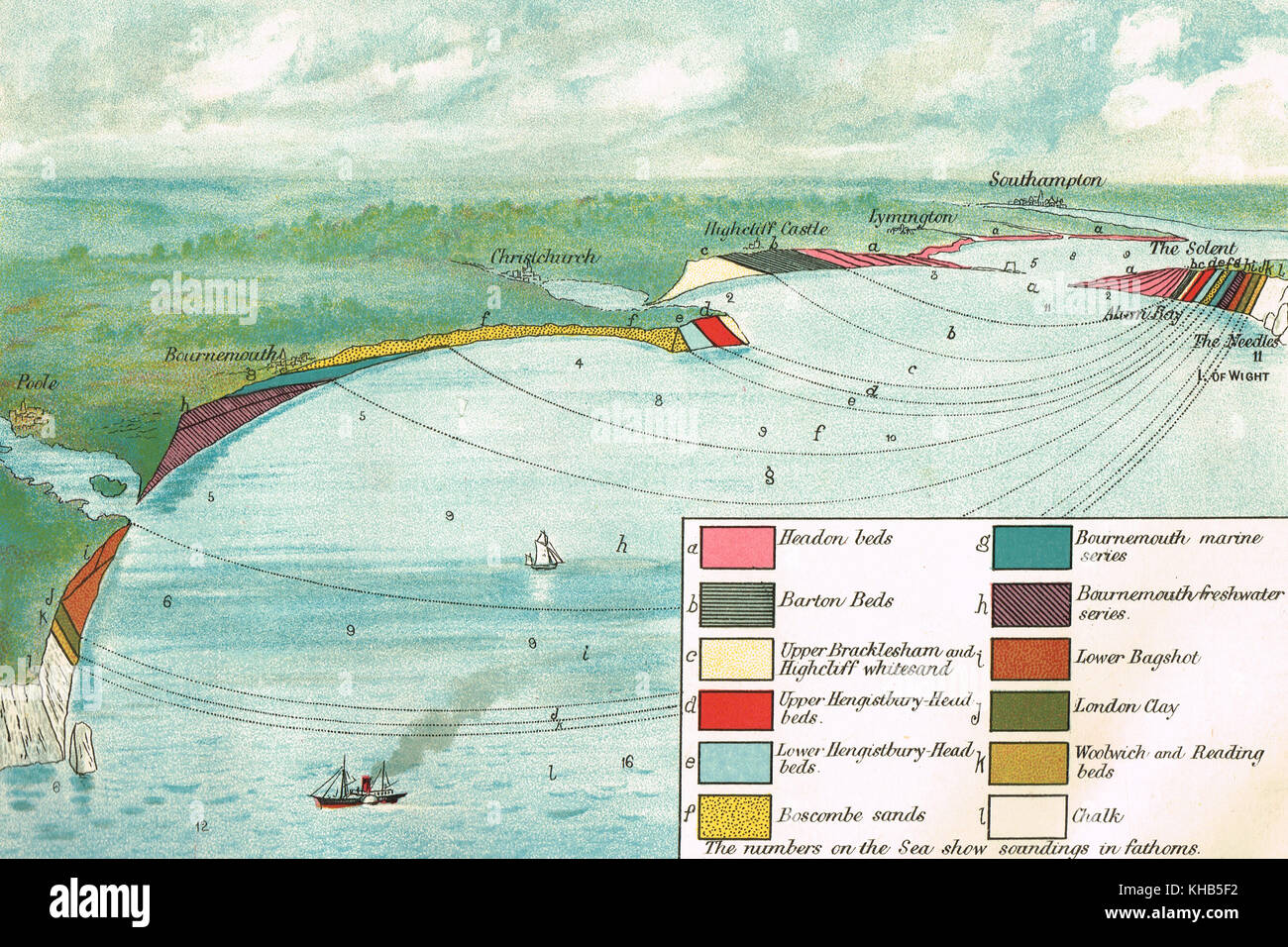 colour lithograph Diagram of the Geological formation of  the Isle of Wight and adjacent country - Stock Image
