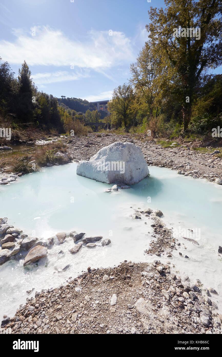 Bagni di Petriolo, geo-thermal hot springs on the River Farma Stock ...