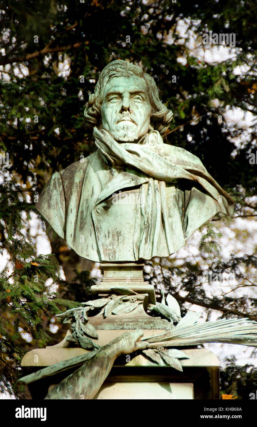 Paris, France. Jardin de Luxembourg (6th Arr) bust of (Ferdinand Victor) Eugène Delacroix (1798-1863) Stock Photo