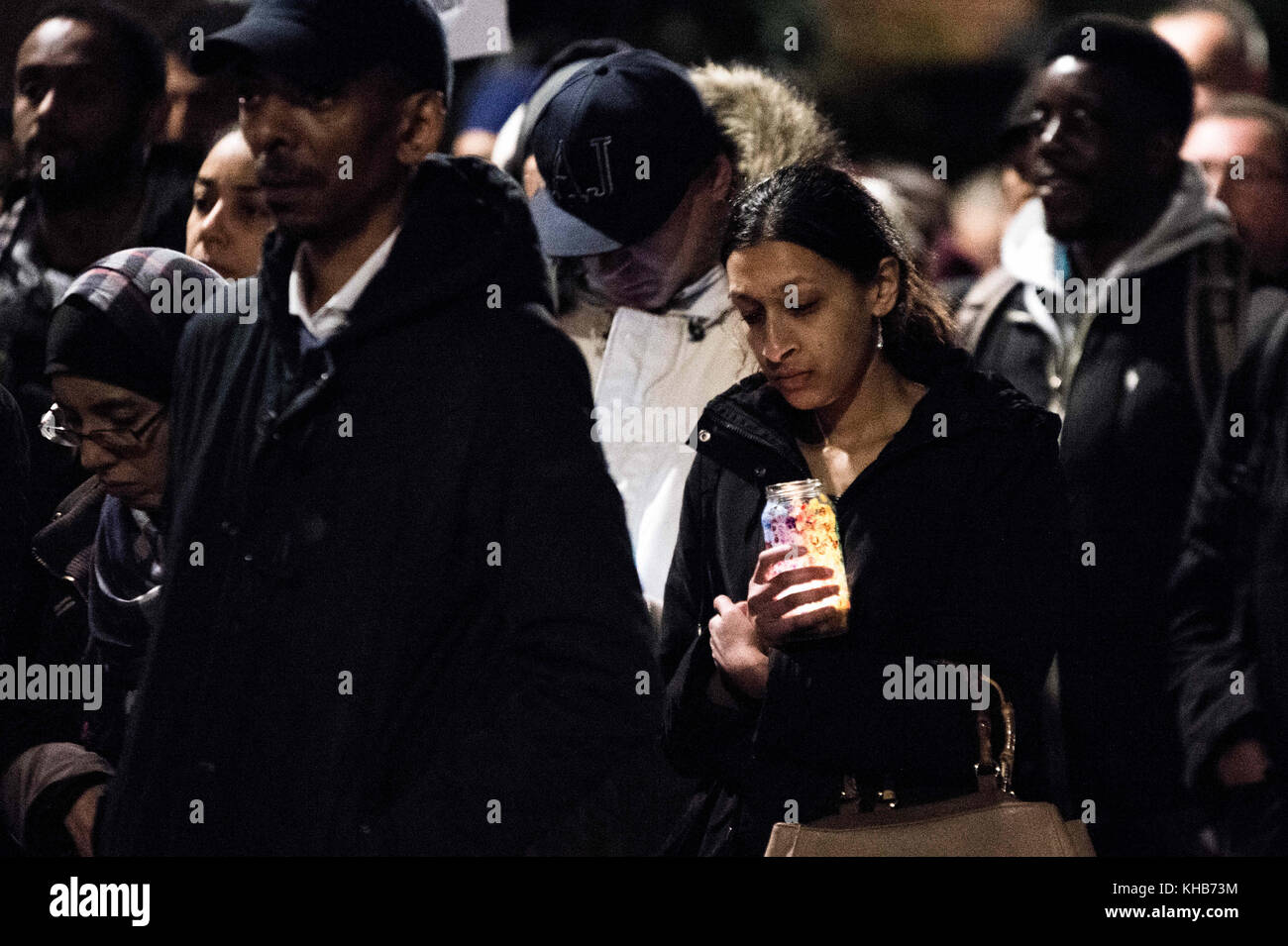 London, London, UK. 14th Nov, 2017. Local people seen during the monthly silent march for the Grenfell Tower fire - Stock Image