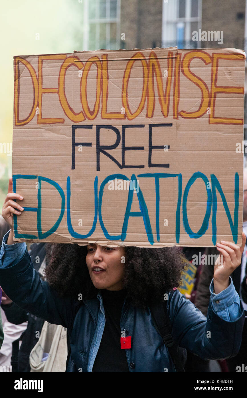 London, UK. 15th Nov, 2017. Students take part in a 'Free Education Now: Tax The Rich' demonstration through - Stock Image