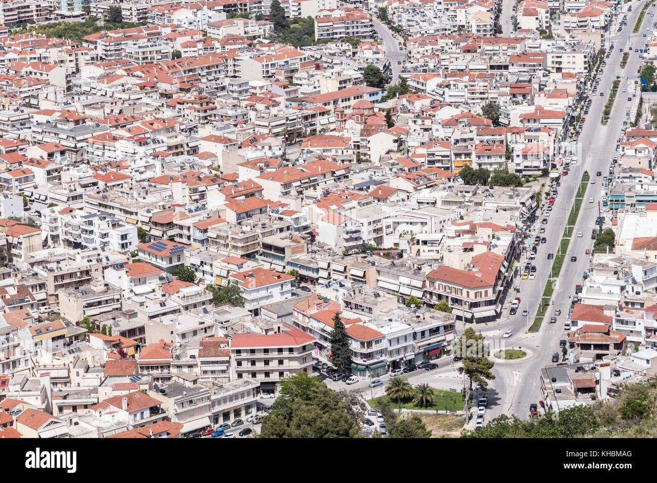 Panoramic view of Nafplio town seen from Palamidi Castle, Greece Stock Photo