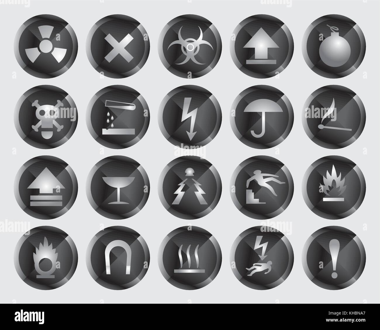 danger signs and icons - vector icon set - Stock Image
