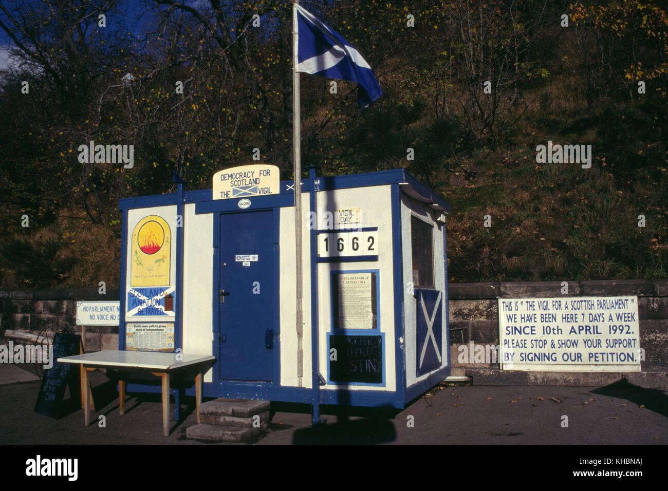 Vigil for a Scottish parliament 1996, Edinburgh - Stock Image