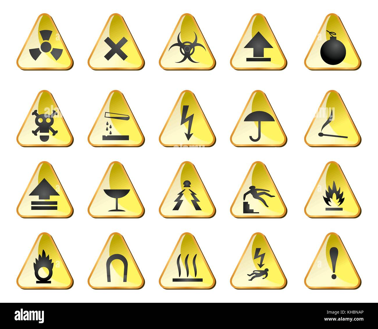 danger and industry icons - vector icon set - Stock Image