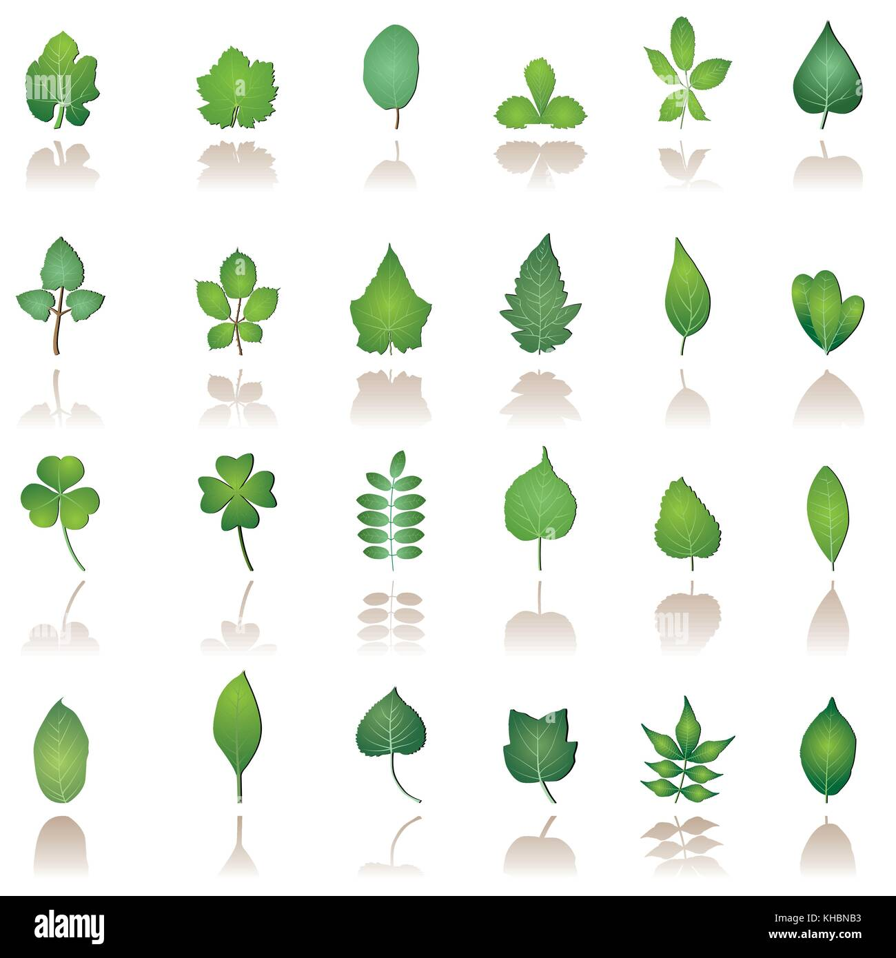tree leafs and nature icons - vector icon set - Stock Vector