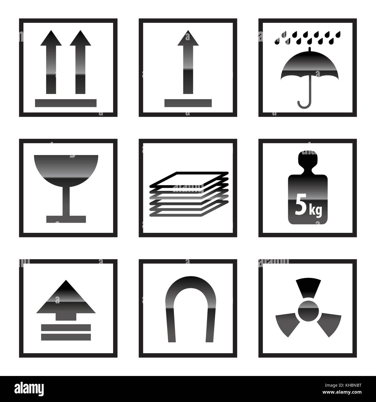 shipping Box and Signs icons - vector icon set - Stock Image
