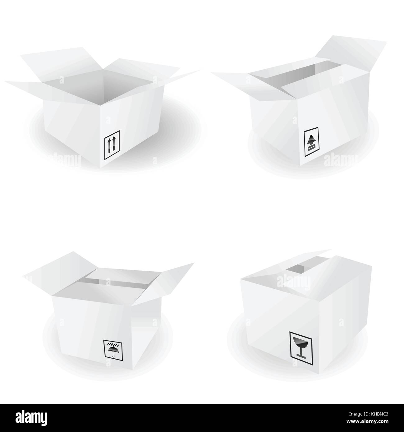 Box Icon and Signs icons - vector icon set - Stock Image