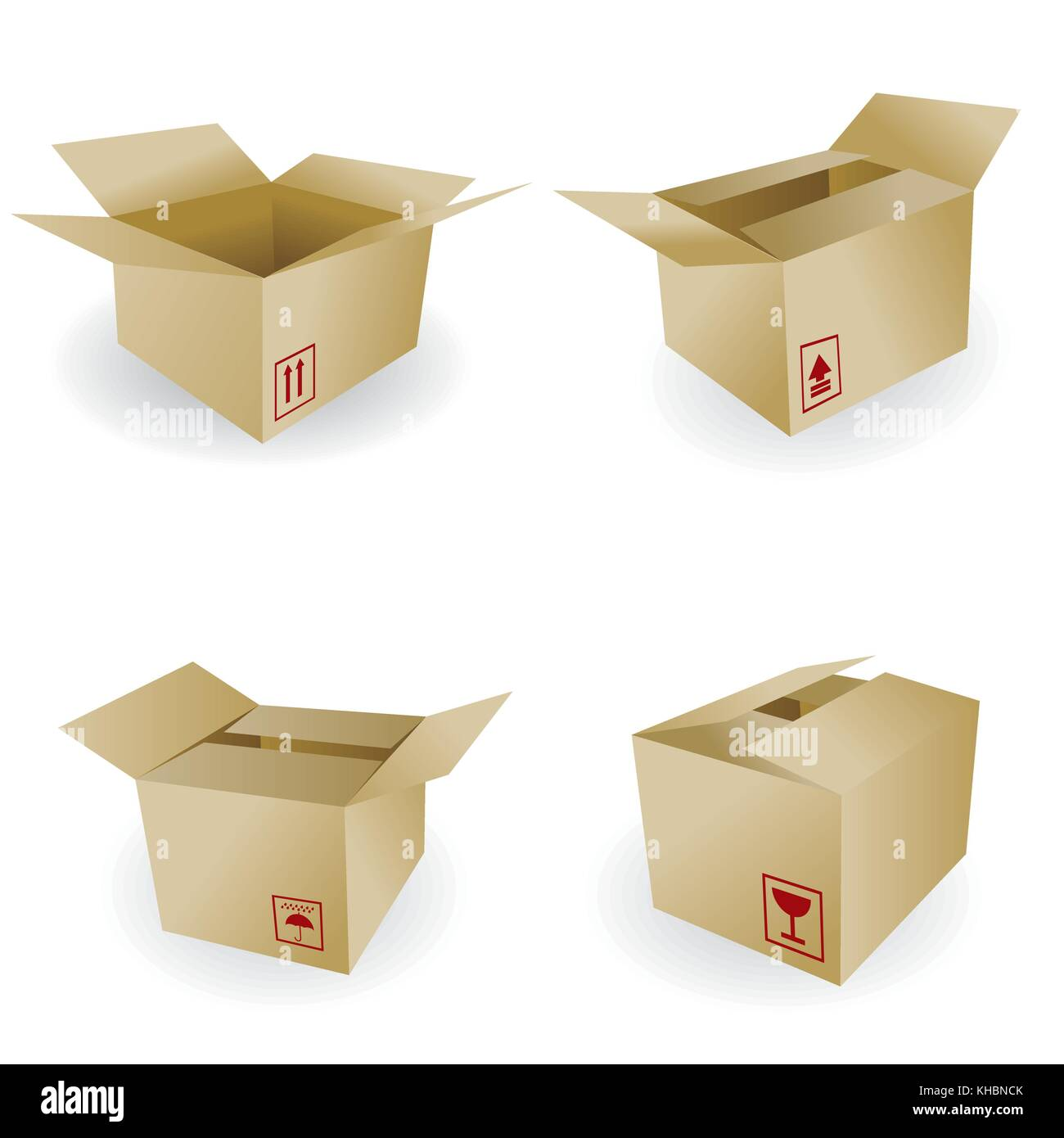 shipping box vector and Box Icon and Signs - Stock Image