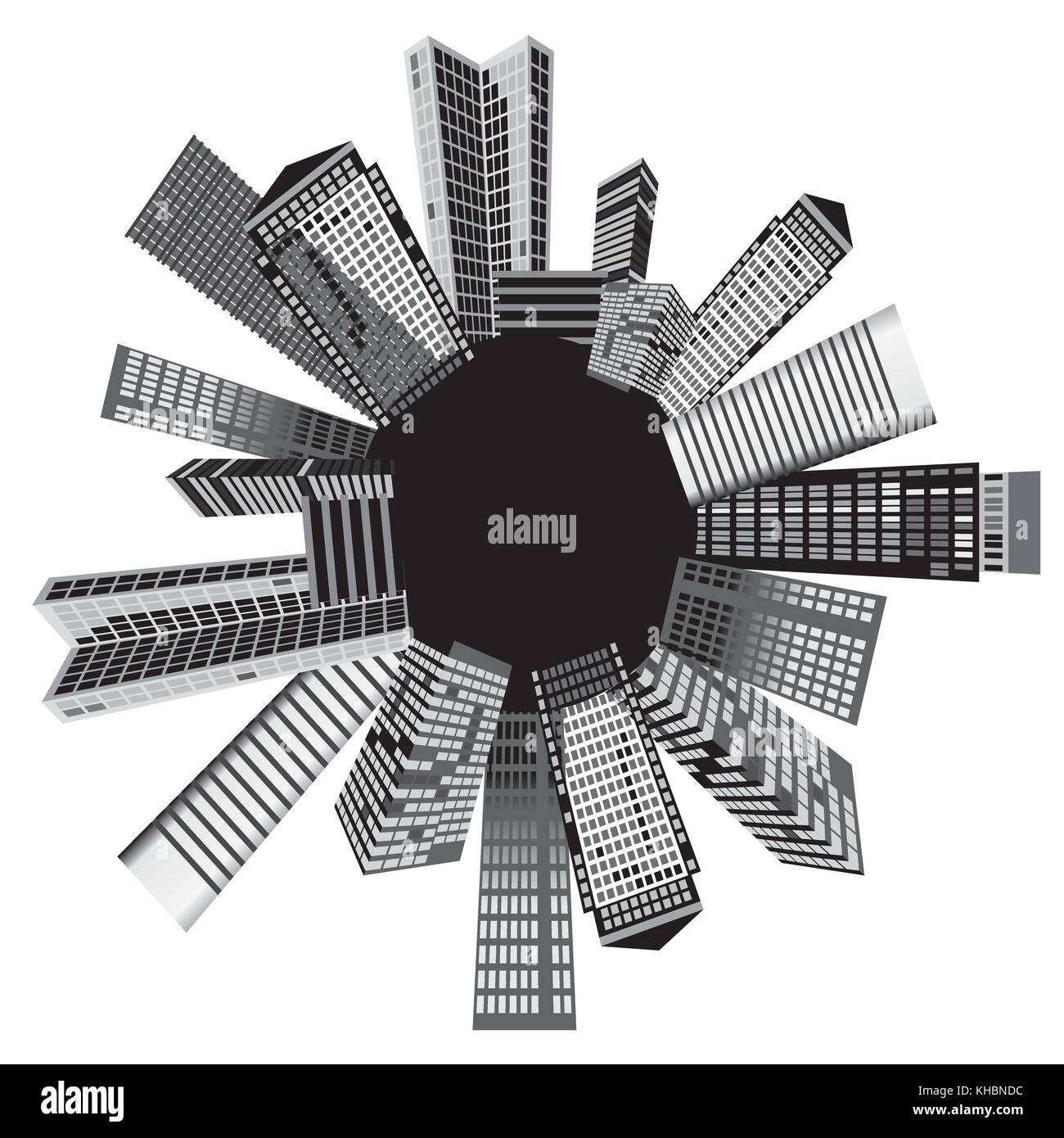 Black and white cities - Vector illustration - Stock Image