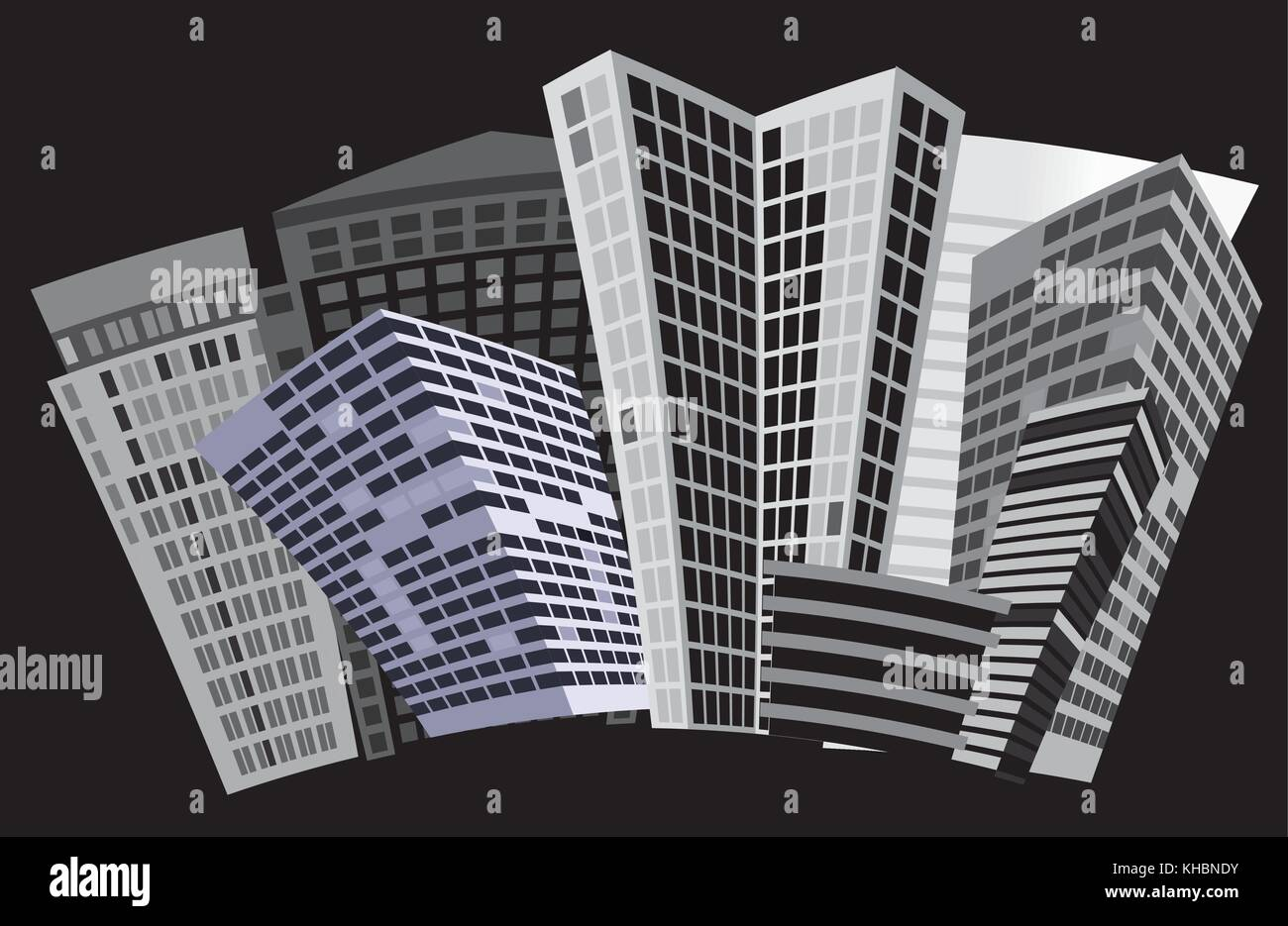 Black and white city - Vector illustration - Stock Image