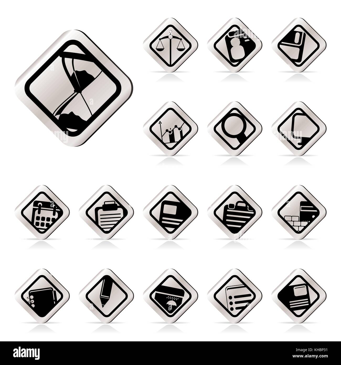 Simple Business and office icons vector icon set - Stock Image