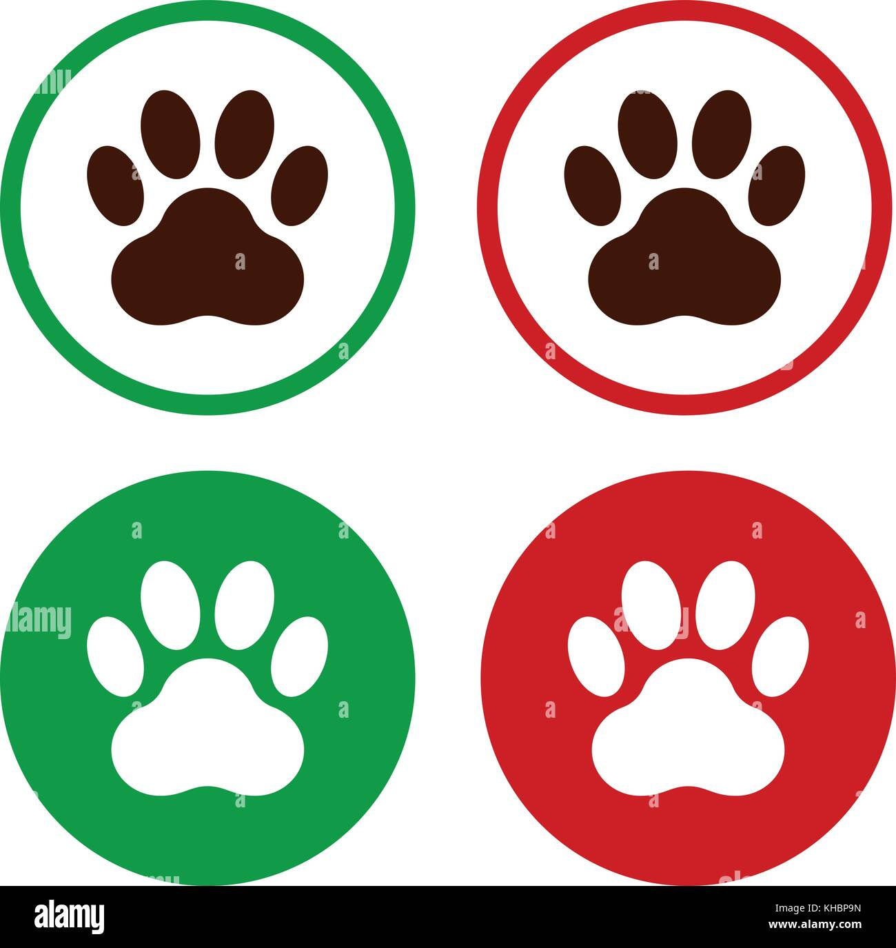 Paw print in green and red circle frame, icons set, vector Stock ...