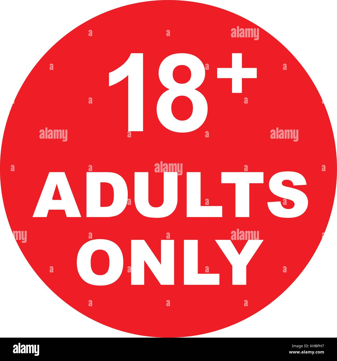 Adults only, red sign with text. Eighteen plus years sign, vector illustration. - Stock Vector