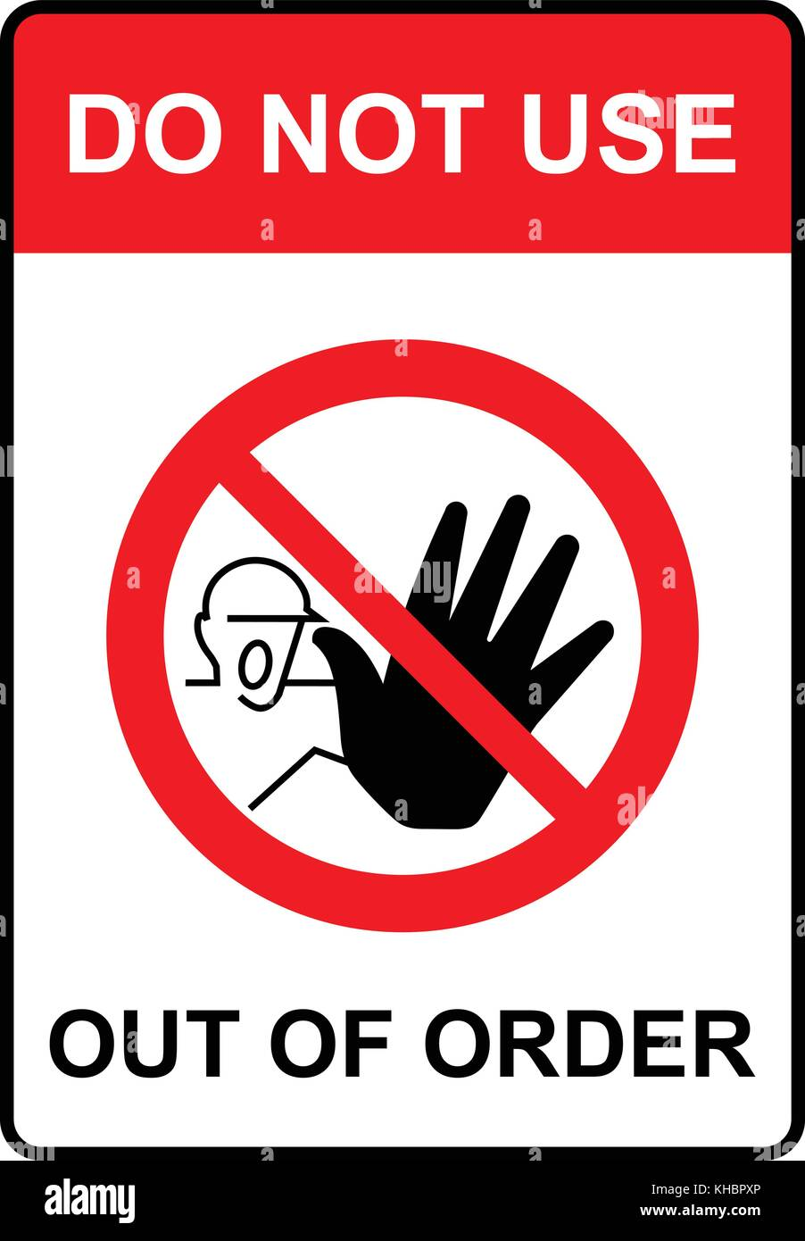 Do not use, out of order, warning sign, vector illustration. - Stock Vector