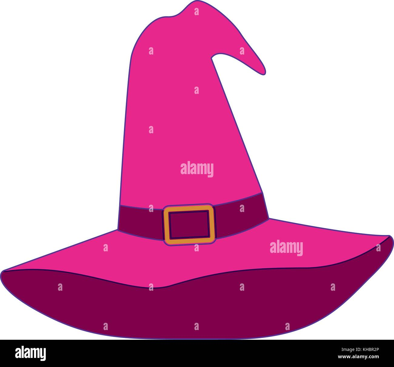 witch hat magenta with purple contour - Stock Image