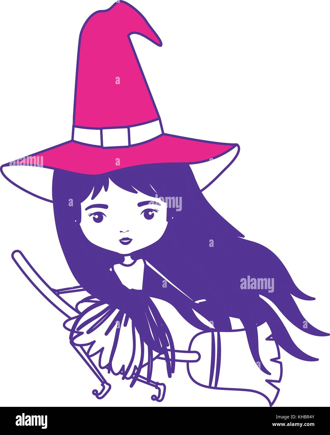 Cute Witch Flying In Broom On Color Sections Silhouette Stock Vector Image Art Alamy