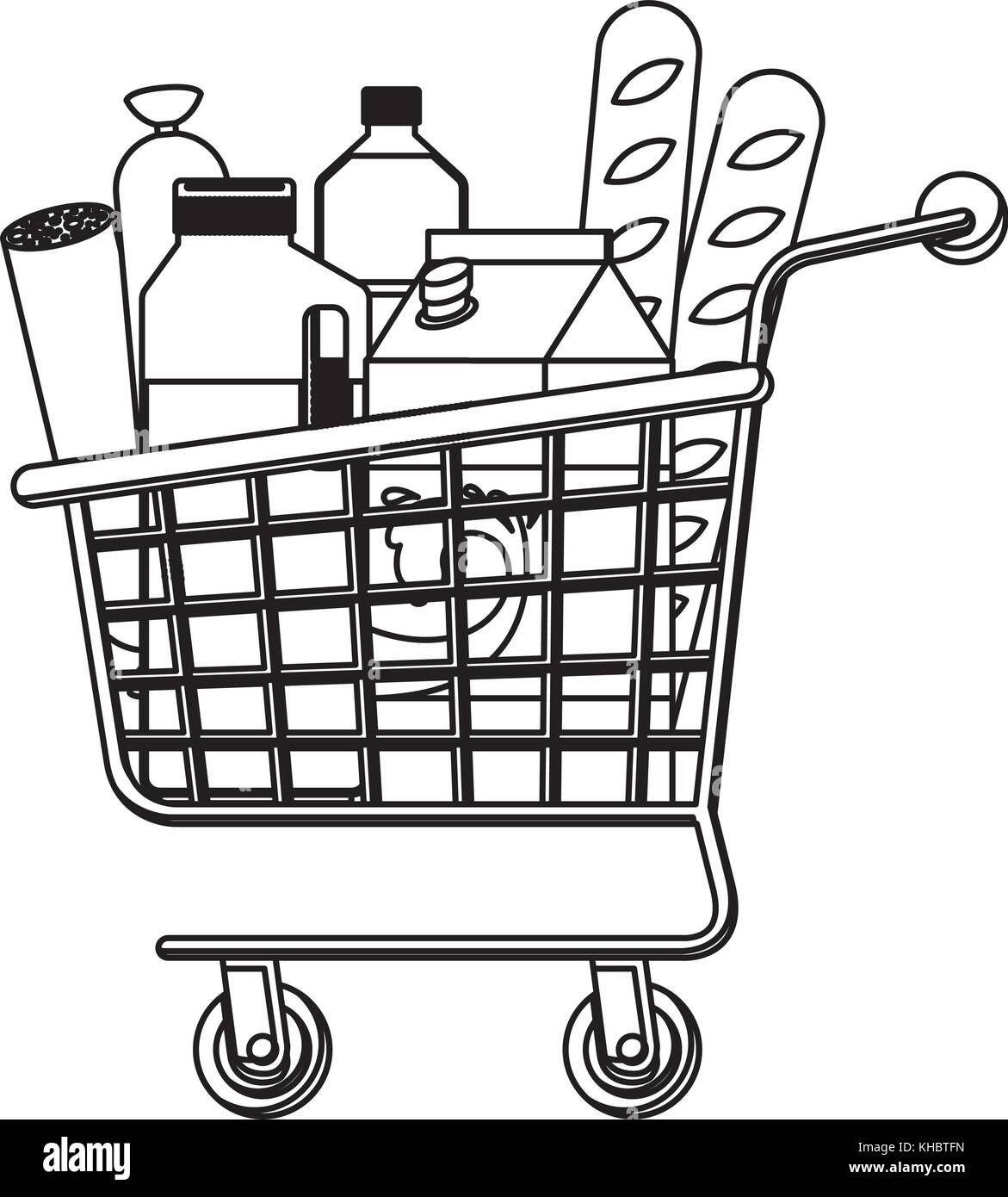 supermarket shopping cart with foods sausage bread and
