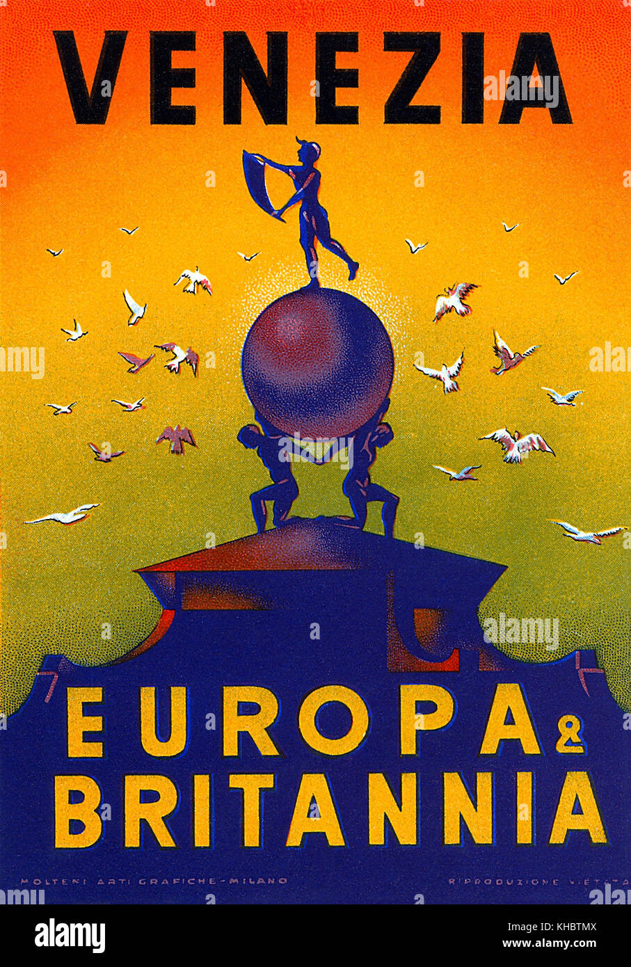 Vintage luggage label for the Europa & Britannia Hotel in Venice. It went by that name form 1938 until 1976. - Stock Image